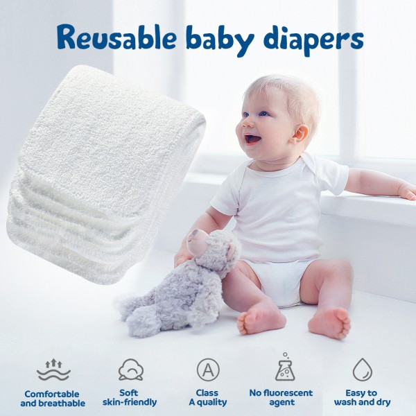 Lictin Nappy Liners - 10PCS Washable Cloth Diaper Liners Newborn 2 Layers High Absorbent Baby Nappy Inserts, Reusable Cloth Nappy Inserts Microfiber Inserts