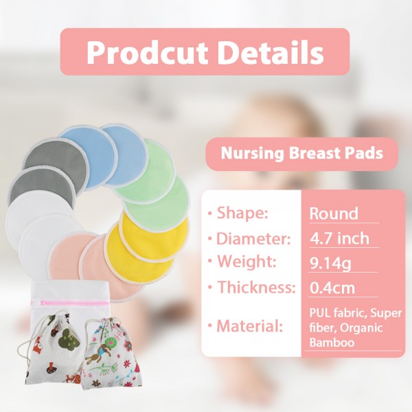 Lictin 12 pcs (6 Paris) Nursing Pads Set Nursing Pads Washable Organic Bamboo Nursing Pads Reusable Nursing Pads Washable Soft Absorbent Nursing Pads with 1 Laundry Bag and 2 Organza Bags