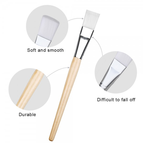 Lictin 2pcs Facial Mask Brushes with 1pcs Silicone Facial Mask Brush and 1pcs Super Cute Hair Band Professional Quality for Applying Facial Mask, Eye Mask or DIY Needs(Light Brown)