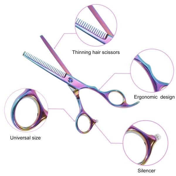 Lictin Hairdressing Scissors Hair Thinning Scissors Set and Hair Scissors, 6.0 inch + Presentation Case/Box + 2pcs Black Comb +Black Hair clip