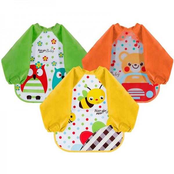 Lictin Set di 3 bavaglino a manica lunga bavaglino impermeabile EVA unisex per bambini piccoli da 6 mesi a 3 anni (orso, ape, gufo design)