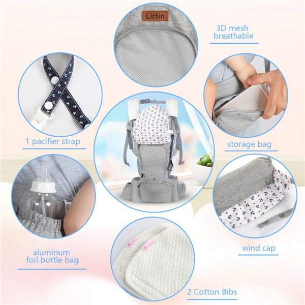 Lictin Baby Carrier for Newborn - Baby Sling Wrap Newborn Baby Carrier Sling Baby Back Carrier Ergonomic Baby Carrier Front and Back for Newborn to Toddler(3.5kg-15kg) (Grey)